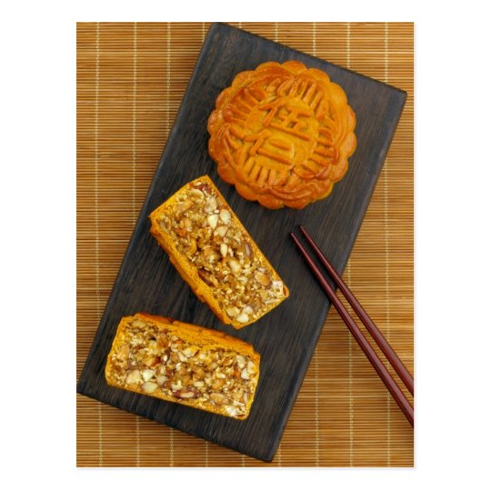 Traditional Chinese mixed nut moon cake Postcard