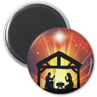 Traditional Christian Christmas Nativity Scene Magnet