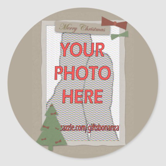 Traditional Christmas Customizable Photo gifts Classic Round Sticker