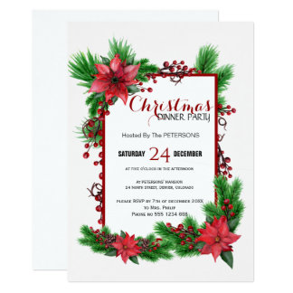 Traditional Christmas dinner party red poinsettia Card