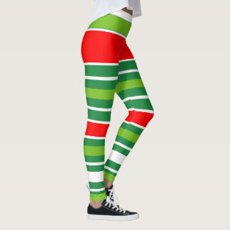 Traditional Christmas Red Green White (Your Color) Leggings