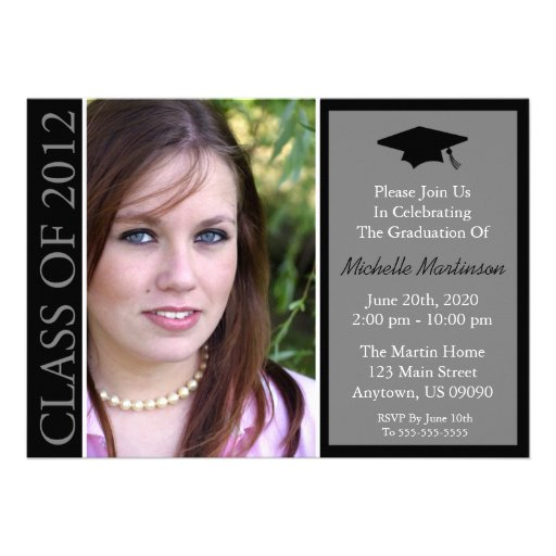 Traditional Class Of 2012 Graduation (Black) Announcement