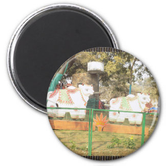 Traditional Cow Statue Art from Indian Suraj Kund 2 Inch Round Magnet