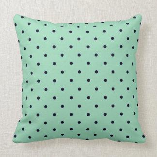 """Traditional Designs"" Polka Dot_Mint_Black Throw Pillow"