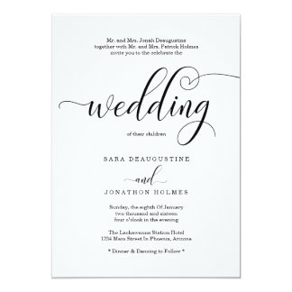 Traditional Elegant Calligraphy Wedding Invitation