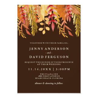Traditional Fall Watercolour Wedding Invitations