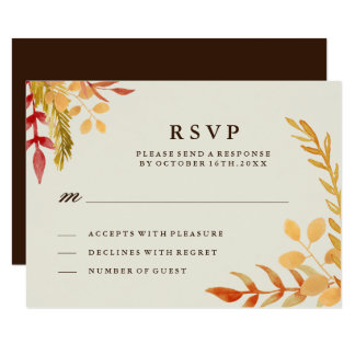 "Traditional Fall Wedding RSVP Card 3.5"" X 5"" Invitation Card"