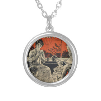 Traditional Family Life Vintage Retro Orange Black Silver Plated Necklace