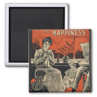 Traditional Family Life Vintage Retro Orange Black Square Magnet