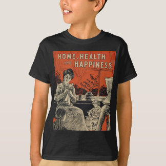 Traditional Family Life Vintage Retro Orange Black T-Shirt