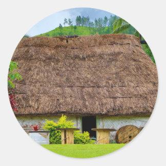 Traditional Fijian Bure, Navala Village, Fiji Classic Round Sticker