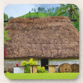 Traditional Fijian Bure, Navala Village, Fiji Coaster