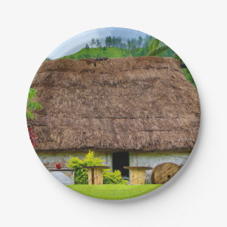 Traditional Fijian Bure, Navala Village, Fiji Paper Plate