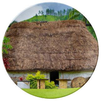 Traditional Fijian Bure, Navala Village, Fiji Plate