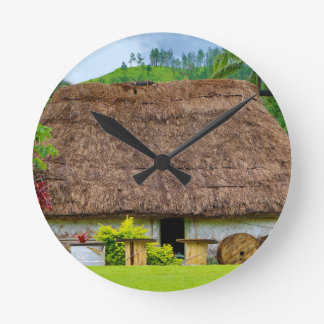Traditional Fijian Bure, Navala Village, Fiji Round Clock