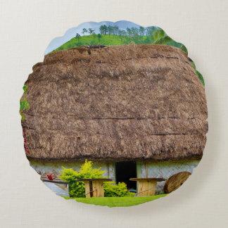 Traditional Fijian Bure, Navala Village, Fiji Round Pillow