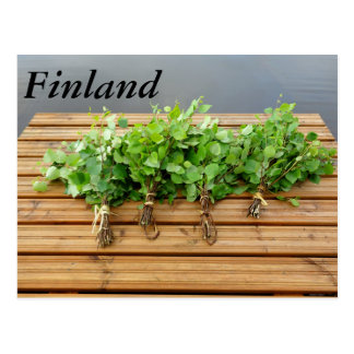 Traditional Finnish bath whisks on a jetty Postcard