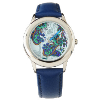 Traditional flower illustration paisley pattern wristwatch