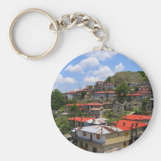 Traditional Greek Village Basic Round Button Keychain