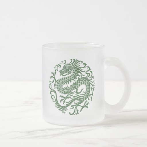 Traditional Green Chinese Dragon Circle Coffee Mugs