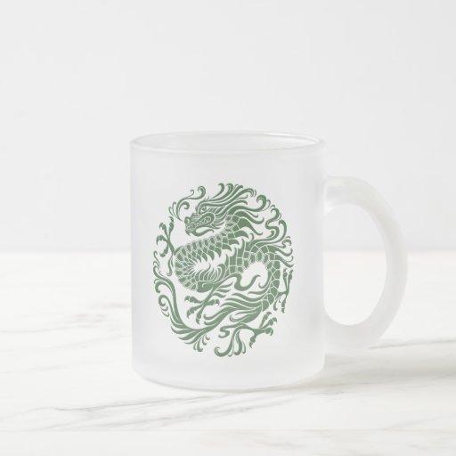 Traditional Green Chinese Dragon Circle Coffee Mugs