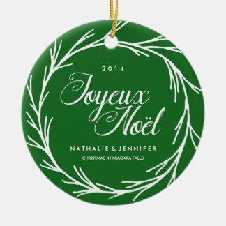Traditional Green Christmas Photo Ornament
