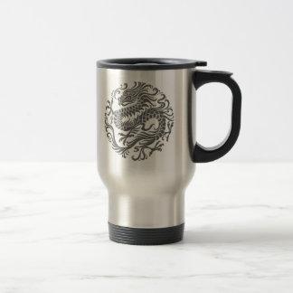 Traditional Grey Chinese Dragon Circle Travel Mug
