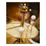 Traditional handcrafted brass orrery with the poster