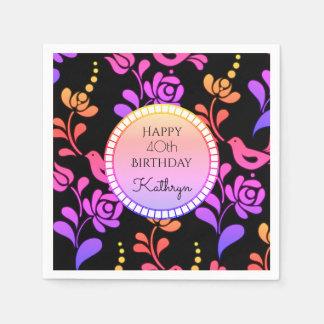 Traditional & Hip European Folk Art Birthday Paper Napkin