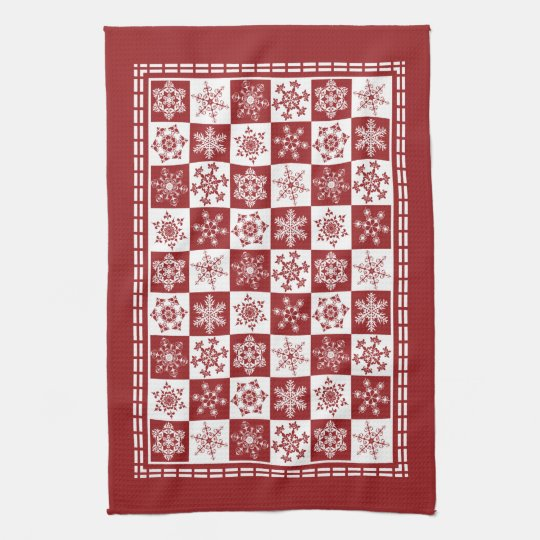 Traditional Holiday Christmas Red Snowflakes Kitchen Towel
