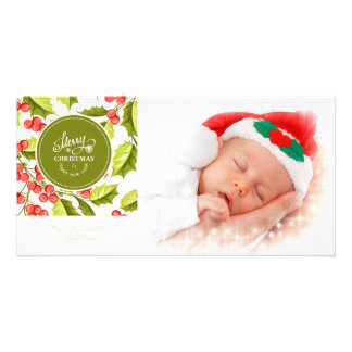 Traditional Holly Design Merry Christmas Photo Picture Card