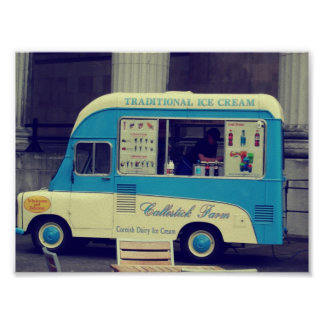 Traditional ice cream vintage cute truck poster