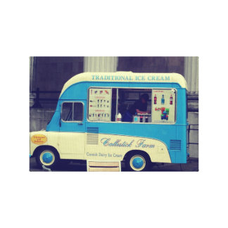 Traditional ice cream vintage cute truck stretched canvas print
