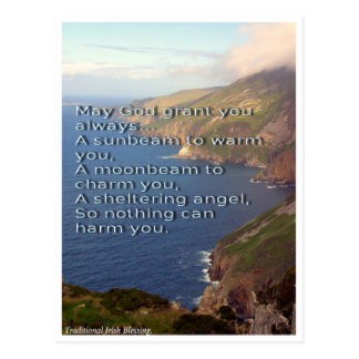 Traditional Irish Blessing, Ireland coastline Postcard