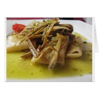 Traditional italian Paccheri pasta with artichokes Card