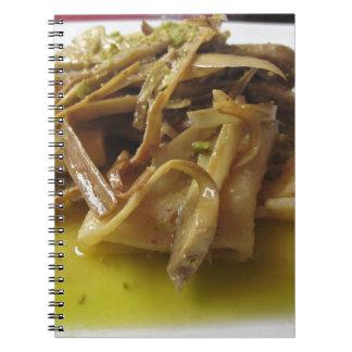 Traditional italian Paccheri pasta with artichokes Notebook