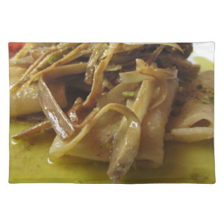 Traditional italian Paccheri pasta with artichokes Placemat
