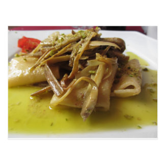 Traditional italian Paccheri pasta with artichokes Postcard