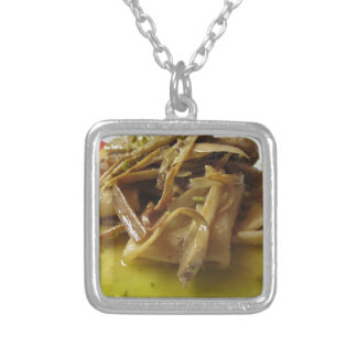 Traditional italian Paccheri pasta with artichokes Silver Plated Necklace