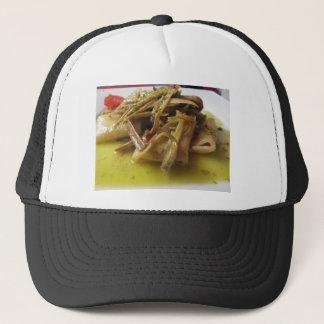 Traditional italian Paccheri pasta with artichokes Trucker Hat