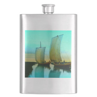 Traditional Japanese Junks Fishing Boats Vintage Flask
