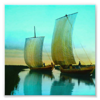 Traditional Japanese Junks Fishing Boats Vintage Photo Print