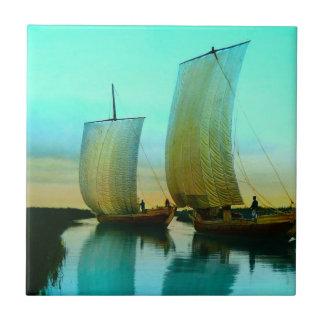 Traditional Japanese Junks Fishing Boats Vintage Tile