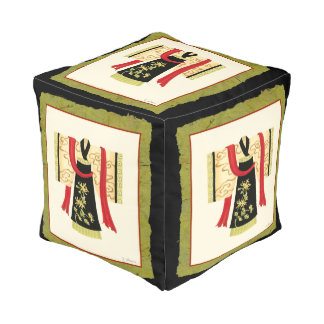 Traditional Japanese Kimono with Floral Print Pouf