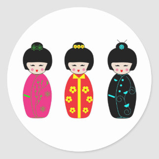 Traditional Japanese Kokeshi Geisha Dolls Classic Round Sticker