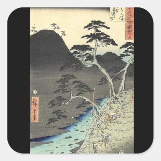 traditional Japanese Mountain Ukiyo-e landscape Square Sticker