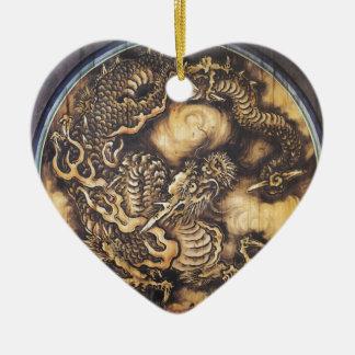 Traditional Japanese Oriental Dragon - 日本 - 鳴き龍 Ceramic Heart Ornament