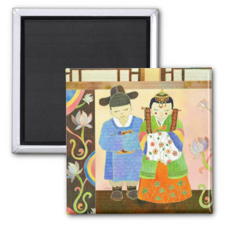 Traditional Korean Wedding: Cute Wedding Gift Square Magnet