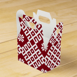 Traditional Latvian Red Design pattern Party Favor Boxes