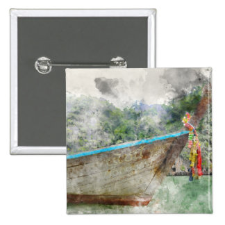 Traditional Long Boat in Thailand 2 Inch Square Button